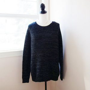 EUC, Faded Glory Black Metallic Blend Sweater XL